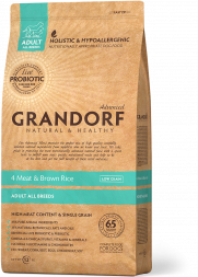 Grandorf Probiotic 4 Meat Brown Rice Adult All Breeds Грандорф корм для собак, с пробиотиками, 4 видами мяса и бурый рис 12 кг